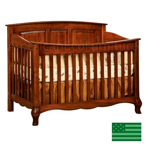 Amish French Country Slats Convertible Baby Crib Solid Amish Baby Crib