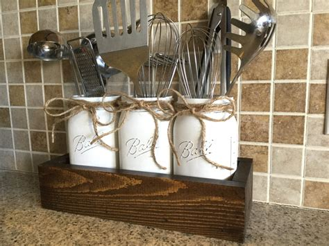 Country Canisters For Kitchen Rustic Kitchen Decor Utensils Holder Mason Jar Utensils