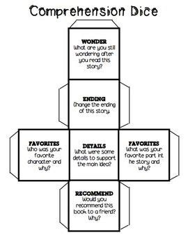 Comprehension Dice Classroom Ideas Reading