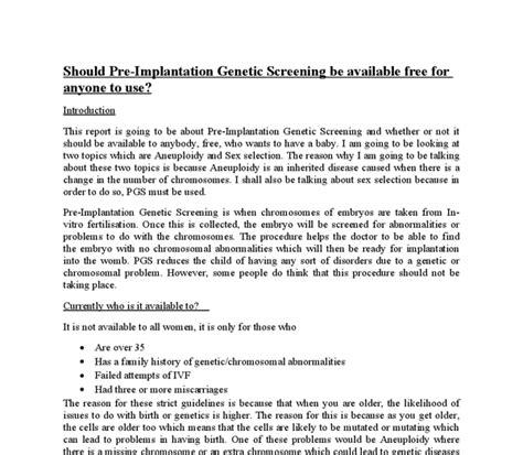 Genetic Essay by Genetic Screening Essay Free