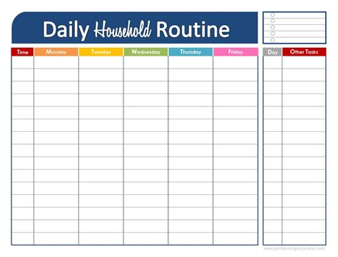 organizing schedule template fresh and organized your daily household routine