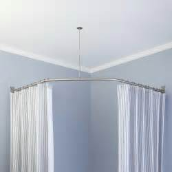 Neo angle shower rod and ceiling support shower curtain rods