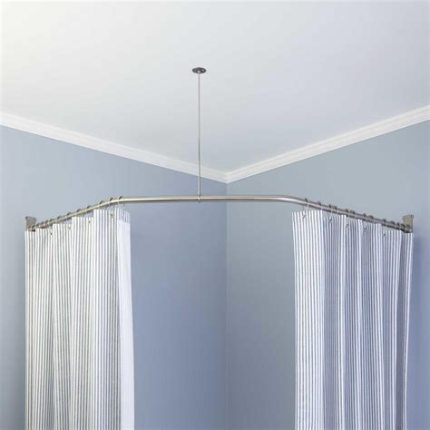 shower curtain rail with ceiling support croydex l shaped shower curtain rail with ceiling support