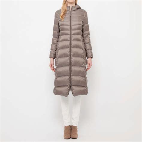 uniqlo ultra light down coat uniqlo women ultra light down long coat in beige lyst