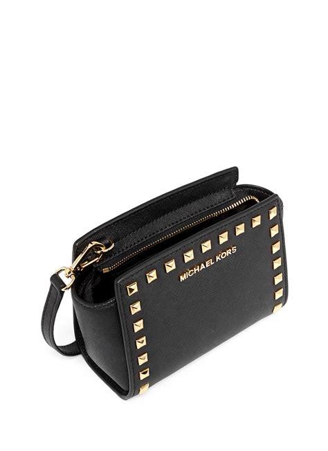 Michael Kors Selma Messenger Black Studded michael kors selma mini stud saffiano leather messenger bag in black lyst