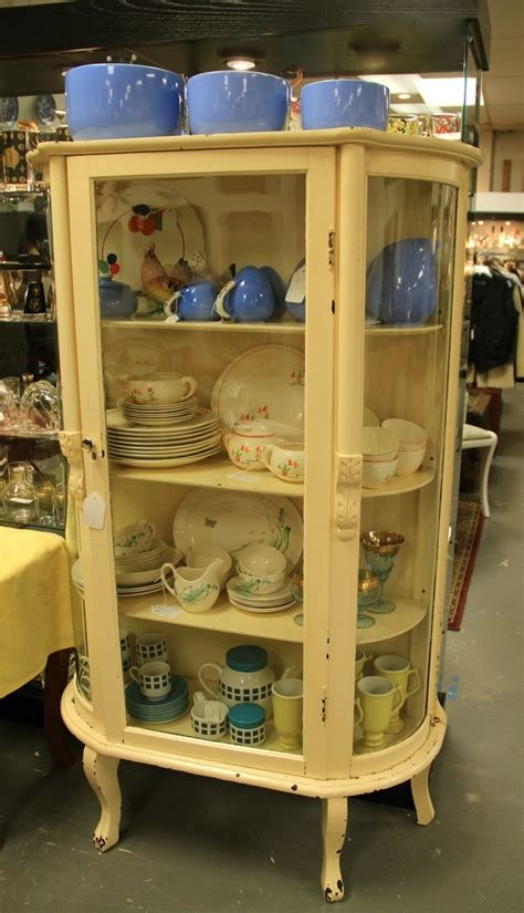 FOUND in ITHACA » Pretty Painted Curved Front China Cabinet (SOLD)