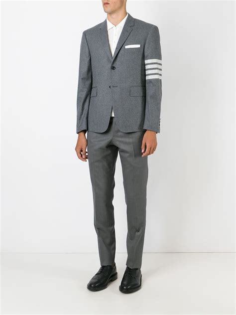 striped sleeve blazer grey navy lyst thom browne striped sleeve blazer in gray for