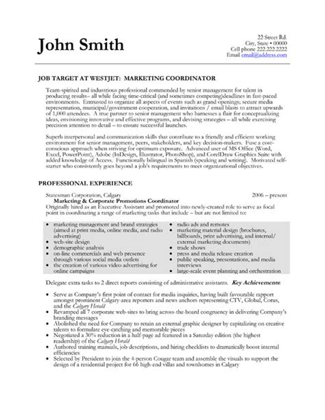 marketing resumes templates marketing coordinator resume sle