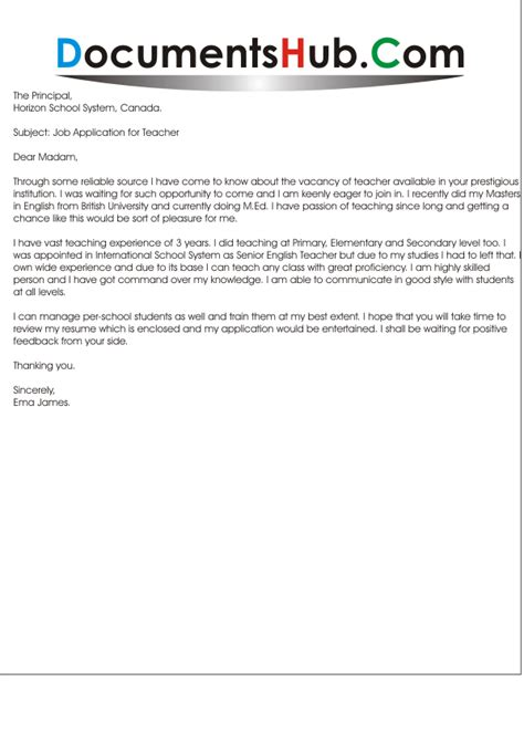 application letter for experience application letter for teaching position documentshub