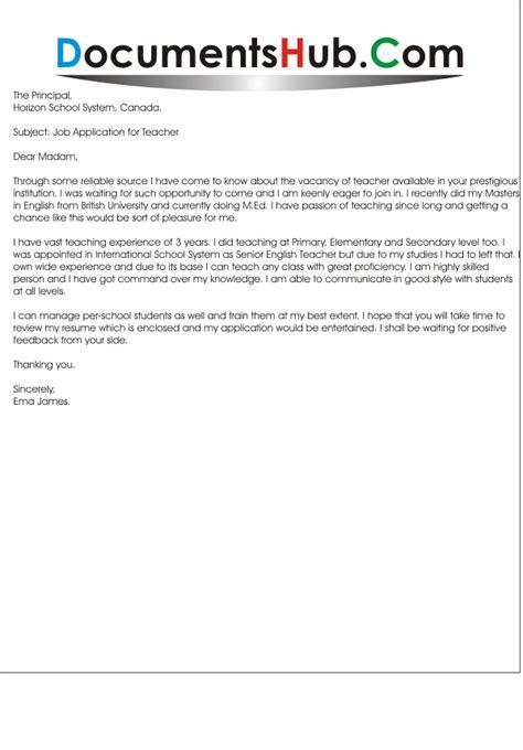 Application Letter for Teaching Position   DocumentsHub.Com