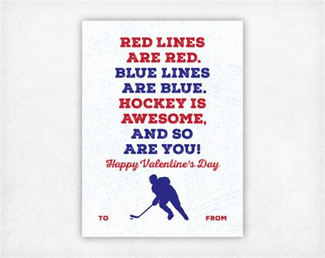 free printable hockey quotes printable kids valentine card printable valentine hockey