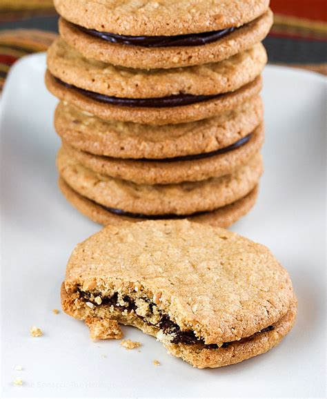 peanut butter and chocolate ganache sandwich cookies
