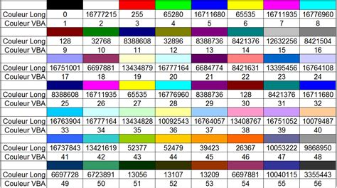 vba excel the color codes