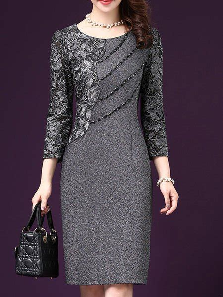 Bo1348 Polka Grey Dress Spandek L 119 popjulia gray sheath daytime dress sleeve cotton paneled dress