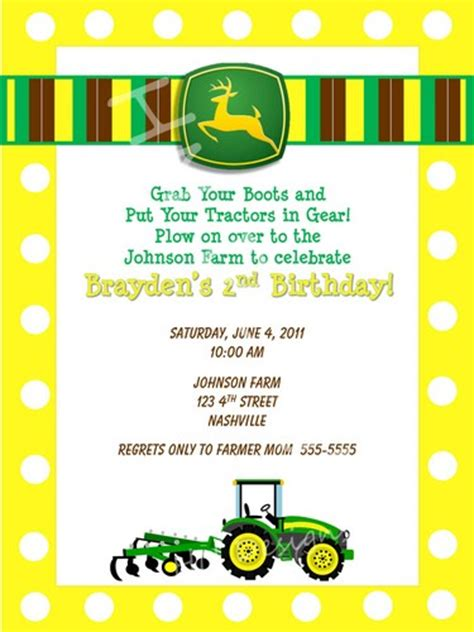 printable john deere birthday cards john deere plow digital birthday invitation you print