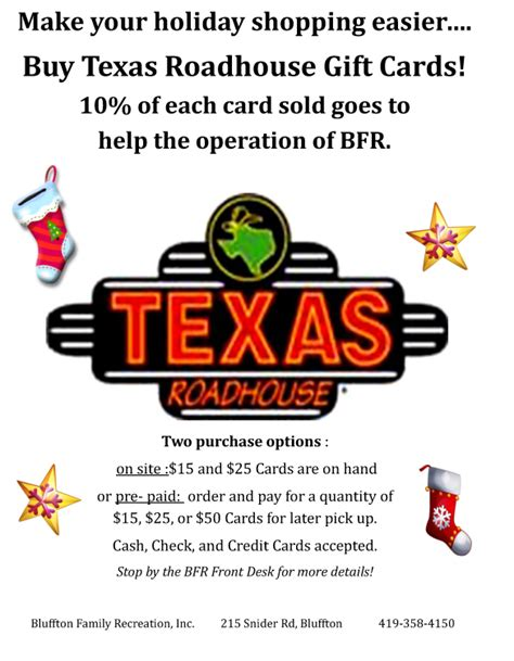 Texas Road House Gift Cards - bfr offering texas roadhouse gift cards the bluffton icon