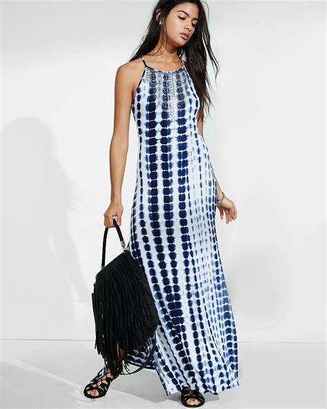 60720 Moschino Maxy Spandek express bead and sequin embellished tie dye maxi dress in