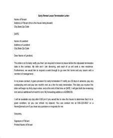 Letter Lease Early Termination 53 Termination Letter Exles