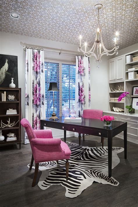 black  white office  pink accents pink home