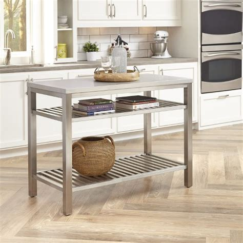 kitchen island stainless top 2018 48 wide stainless steel island set in brushed satin by home styles kitchensource