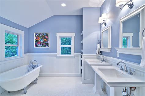 blue and white bathrooms blue and white master bath cottage style craftsman