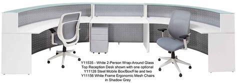 white two person desk white 2 person wrap around glass top reception desk