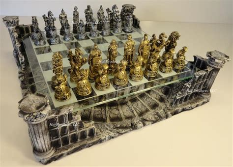 best chess sets metal pewter roman gladiator medieval times chess set