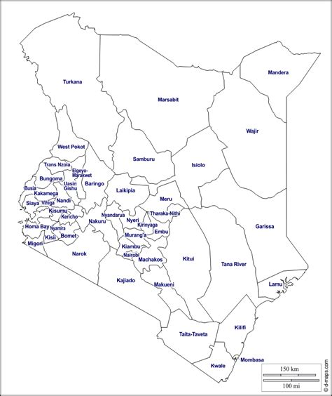 printable map kenya kenya free map free blank map free outline map free