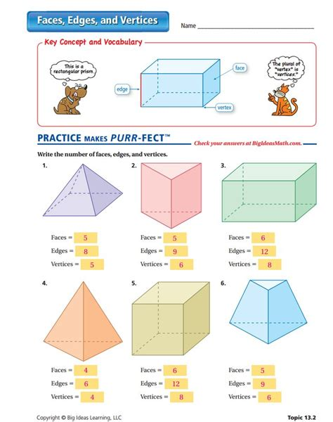 printable math worksheets faces edges and vertices faces edges and vertices worksheet answers surface