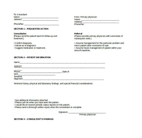 12 Medical Consultation Form Templates To Download Sle Templates Consultation Form Template