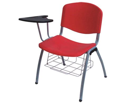 plastic stack chair with flip up tablet arm book basket