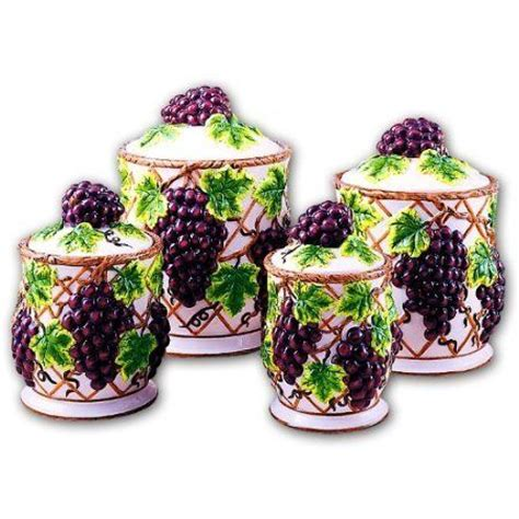grape canister sets kitchen grapes kitchen canisters set ceramic fruit theme home