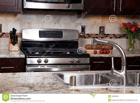 Modern Luxury Kitchen With Granite Countertop Contemporary Custom Kitchen Royalty Free Stock Image Image 30808546