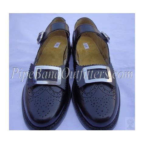 black and white leather pipers band ghillie brogue shoes