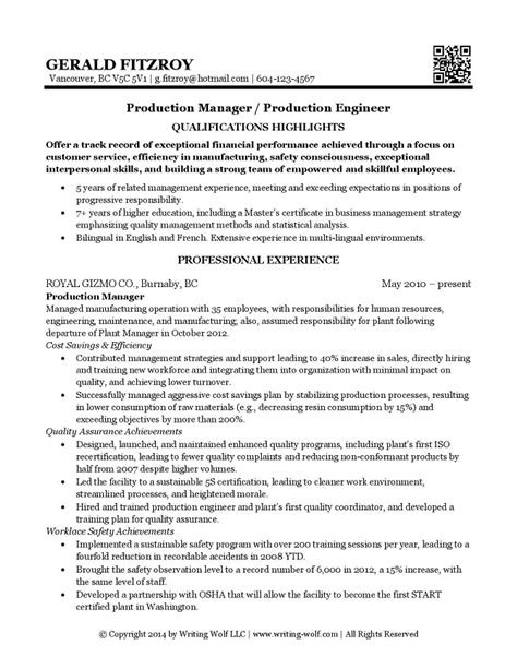plant manager resume exles engineering production manager resume writing wolf
