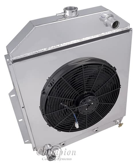 electric radiator fans and shrouds 1942 1952 ford trucks aluminum 3 row chion radiator