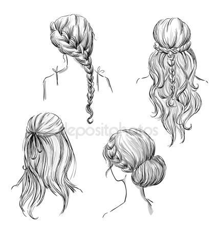 line art hair tutorial fryzury grafika wektorowa depositphotos 174