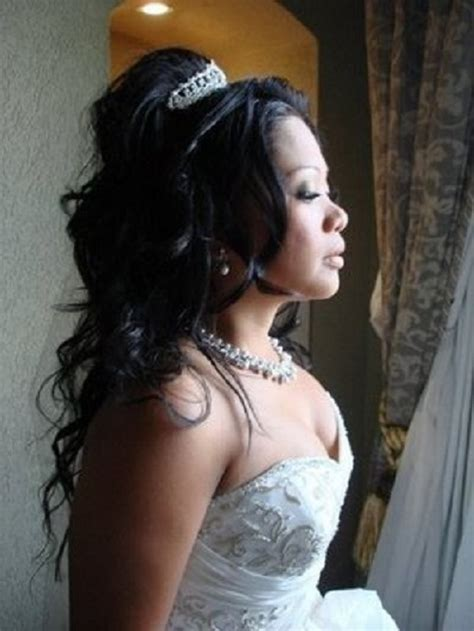 half up half down hairstyles african american hair wedding hairstyles for african american women with long