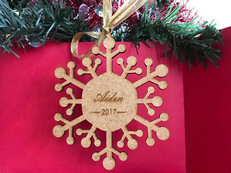 new year decoration names personalised snowflake with name year wood ornament