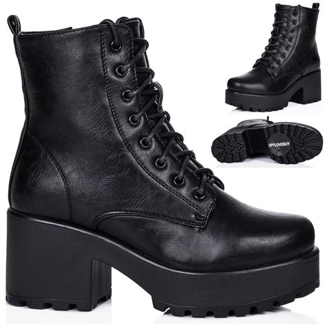 Block Heel Platform Boots new womens block heel cleated sole lace up platform ankle