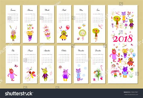 monthly kids calendar 2018 funny monsters stock vector