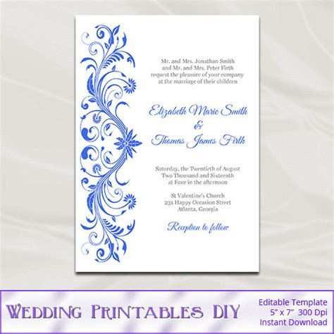 royal blue wedding invitations template diy printable