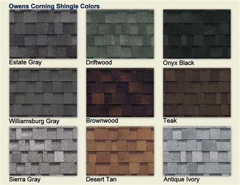 owens corning oakridge roof colors owens corning shingle colors color chart owens corning
