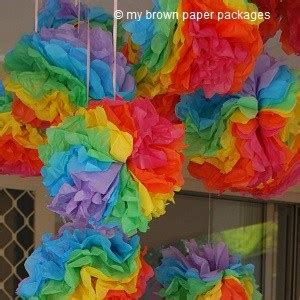 How To Make Rainbow With Paper - rainbow tissue paper pom poms my brown paper packages