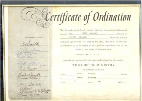 ordained minister certificate license template search