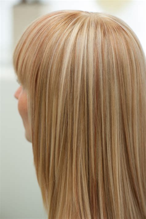 hairstyles of copper blonde hivhlights blond highlights with copper strands frank j s photo