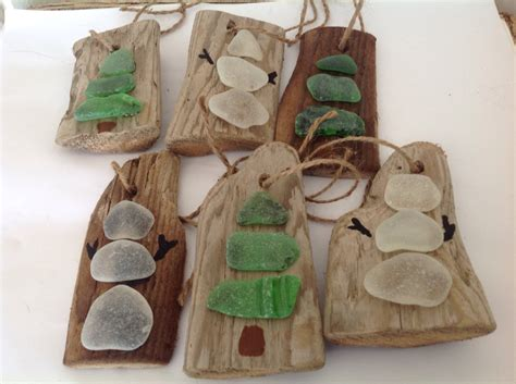 driftwood and beach glass ornaments christmas ornaments beach