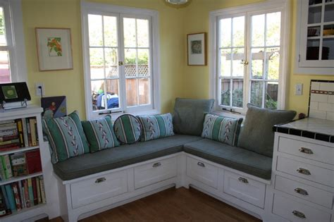 small banquette bench banquette seating enlarges a small kitchen