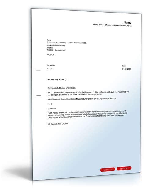 Lieferverzug Mahnung Brief Nachfristsetzung Lieferverzug Vorlage Zum