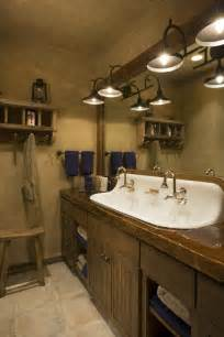 Rustic Bathroom Lighting Castiron 4 Sink Rustic Mountain Lodge Bathroom Wood Countertop Beadboard Cabinet Trough